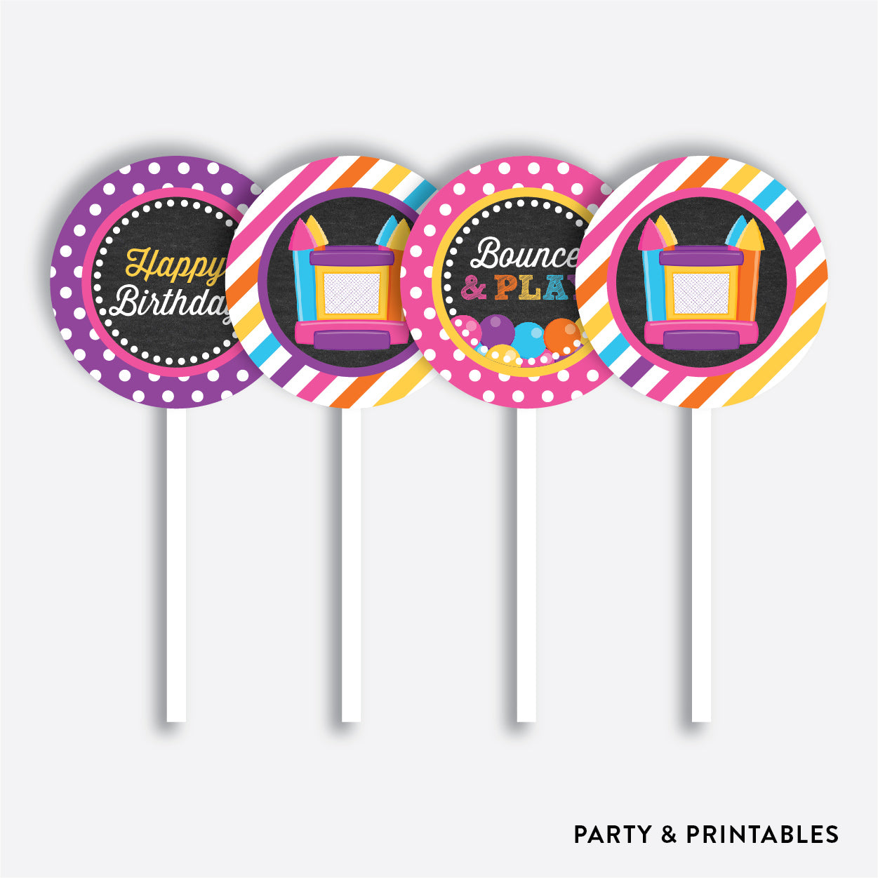 Bounce House Chalkboard Cupcake Toppers / Non-Personalized / Instant Download (CKB.132), party printables - Party and Printables