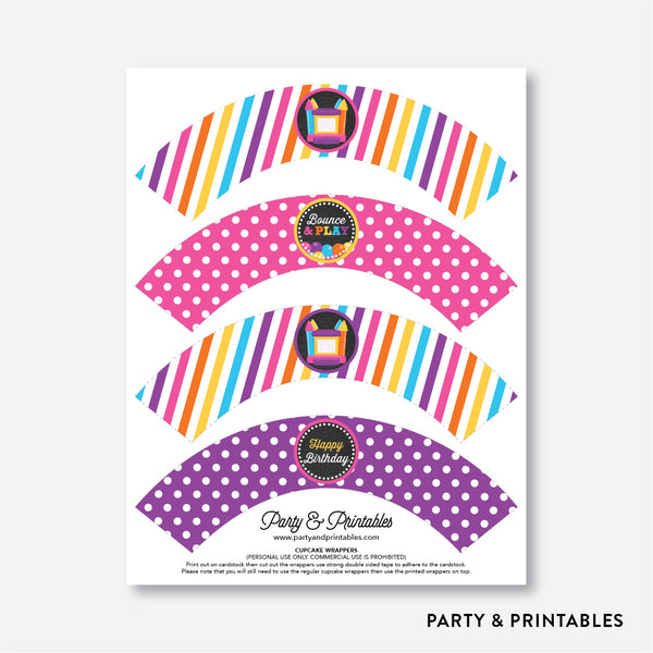 Bounce House Chalkboard Cupcake Wrappers / Non-Personalized / Instant Download (CKB.132), party printables - Party and Printables