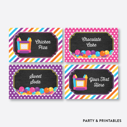 Bounce House Chalkboard Food Labels / Editable / Instant Download (CKB.132)