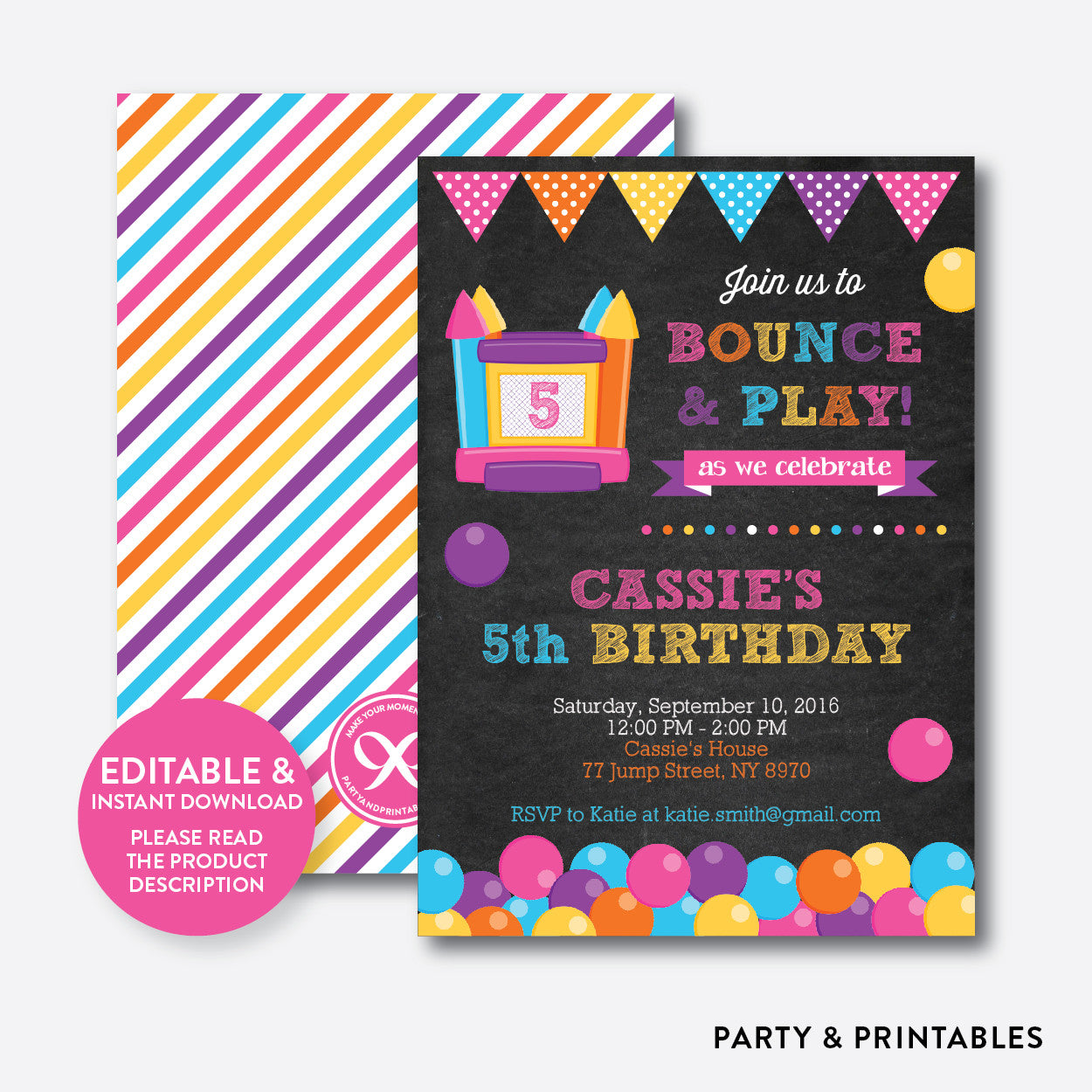 Bounce house chalkboard kids birthday invitation editable bounce house chalkboard kids birthday invitation editable instant download ckb132 stopboris Images