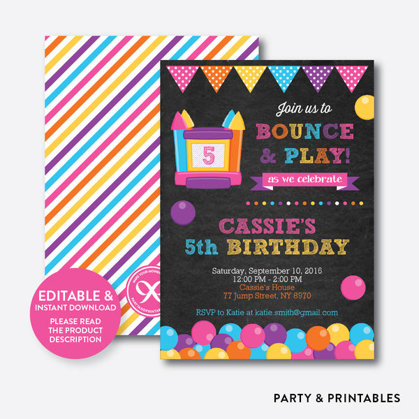 Bounce House Chalkboard Kids Birthday Invitation / Editable / Instant Download (CKB.132), invitation - Party and Printables