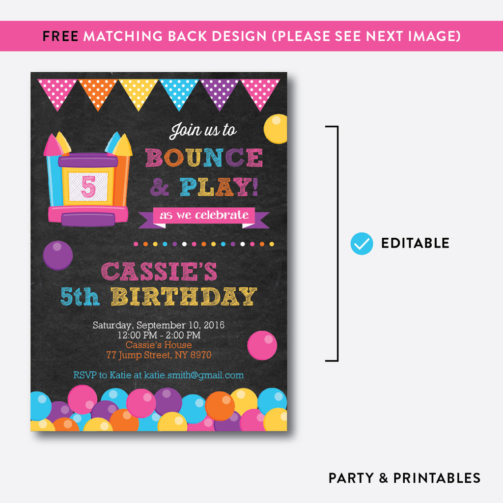 bounce house pink chalkboard kids birthday invitation editable bounce house pink chalkboard kids birthday invitation editable instant ckb 132