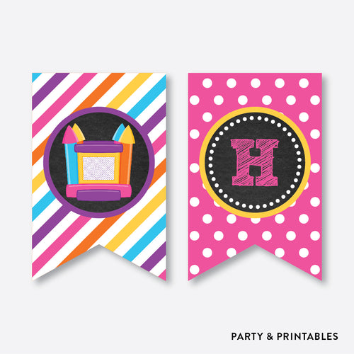 Bounce House Chalkboard Party Banner / Happy Birthday Banner / Non-Personalized / Instant Download (CKB.132)
