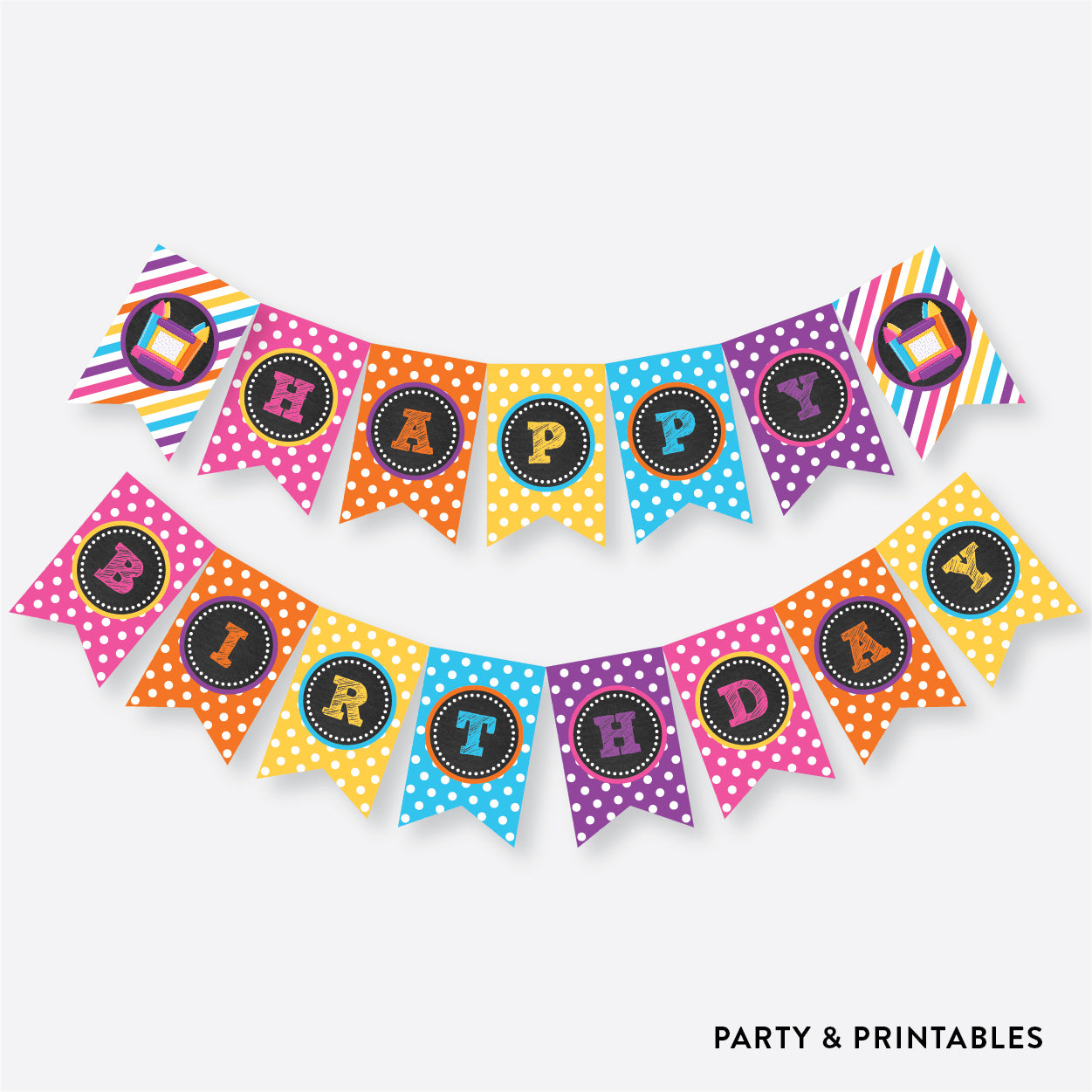 Bounce House Chalkboard Party Banner / Happy Birthday Banner / Non-Personalized / Instant Download (CKB.132), party printables - Party and Printables