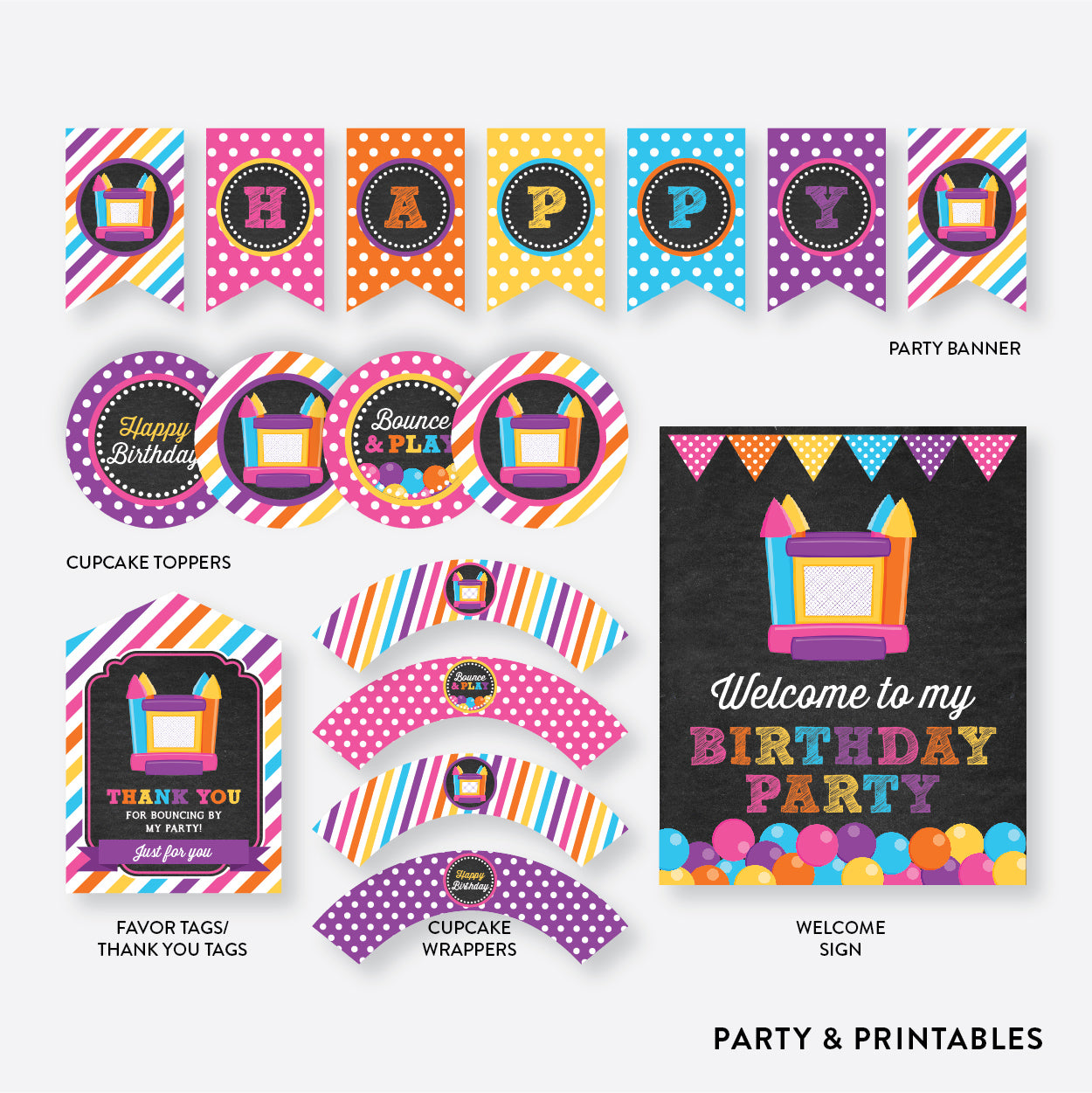 Bounce House Chalkboard Standard Kids Birthday Party Package / Non-Personalized / Instant Download (CKB.132), party package - Party and Printables