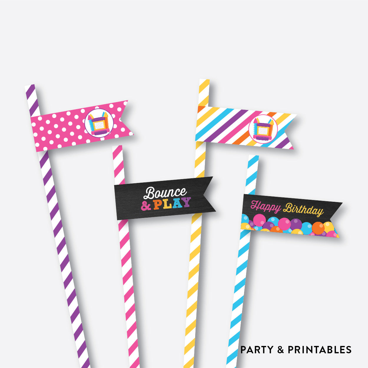 Bounce House Chalkboard Straw Flags / Non-Personalized / Instant Download (CKB.132), party printables - Party and Printables