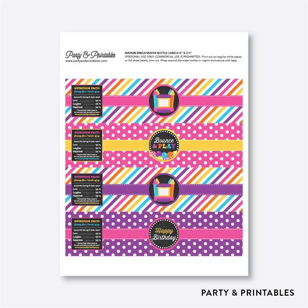 Bounce House Chalkboard Water Bottle Labels / Non-Personalized / Instant Download (CKB.132), party printables - Party and Printables