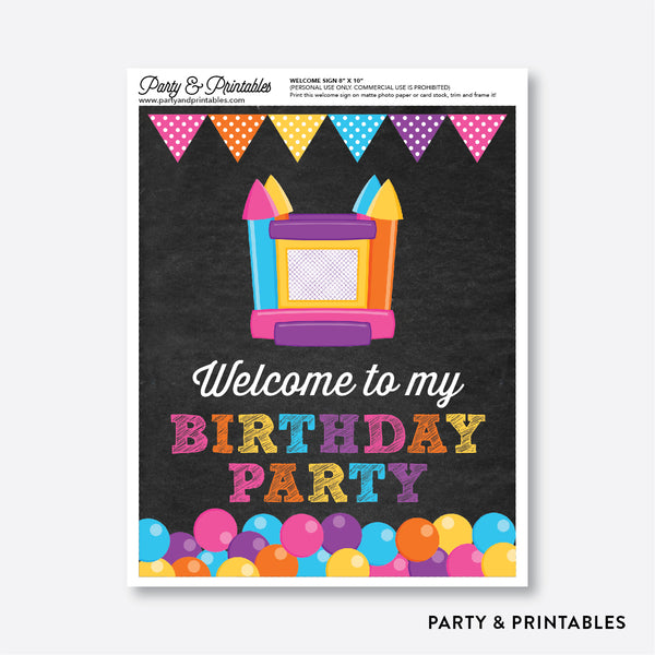 Bounce House Chalkboard Welcome Sign / Non-Personalized / Instant Download (CKB.132), party printables - Party and Printables