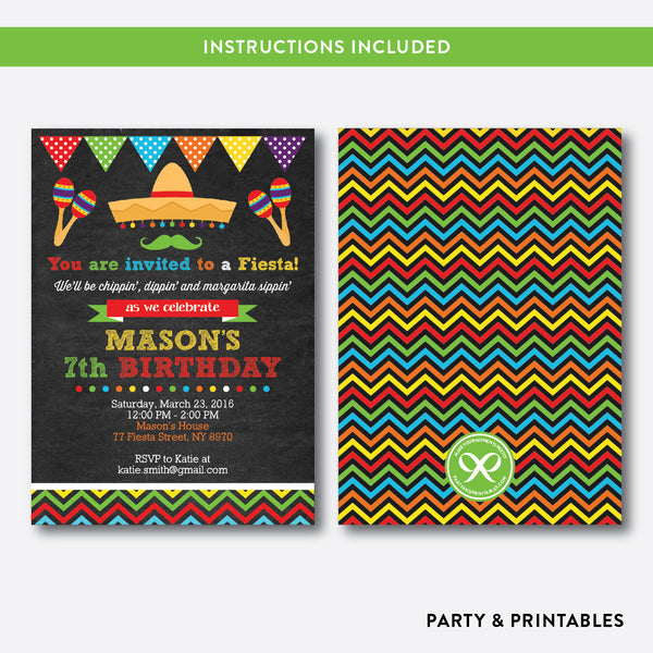 Fiesta Fun Chalkboard Kids Birthday Invitation / Editable / Instant Download (CKB.133), invitation - Party and Printables