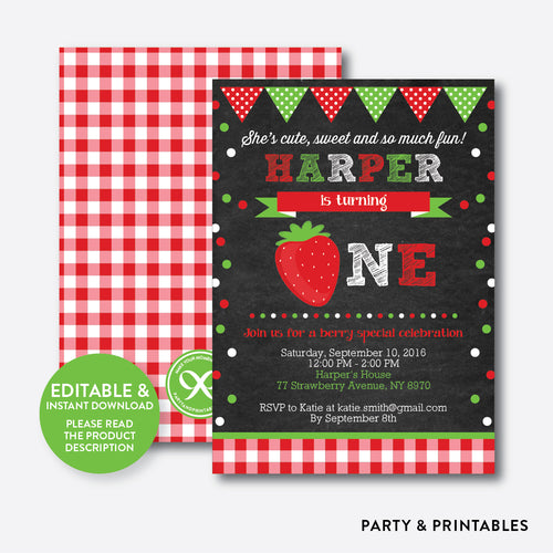Strawberry Chalkboard 1st Birthday Invitation / Editable / Instant Download (CKB.134)