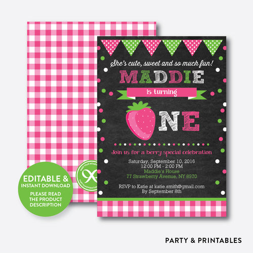 Strawberry Chalkboard 1st Birthday Invitation / Editable / Instant Download (CKB.135)