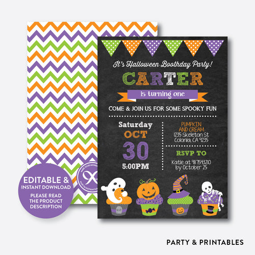 Halloween Cupcakes Chalkboard Kids Birthday Invitation / Editable / Instant Download (CKB.138)