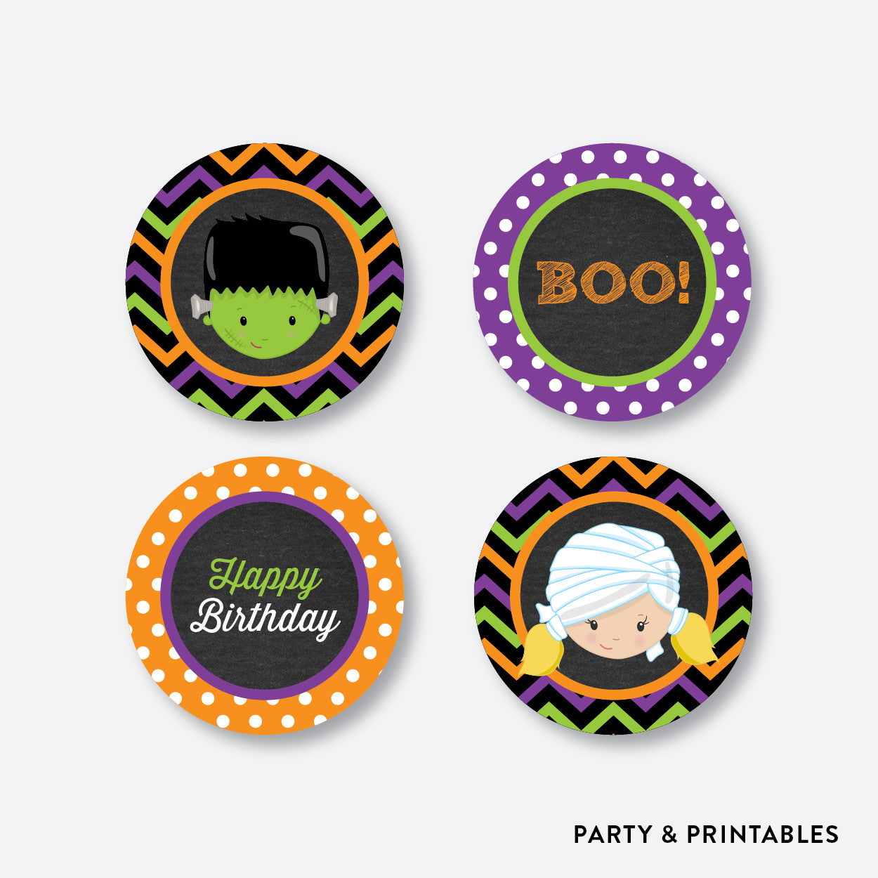 Halloween Kids Chalkboard Cupcake Toppers / Non-Personalized / Instant Download (CKB.139), party printables - Party and Printables