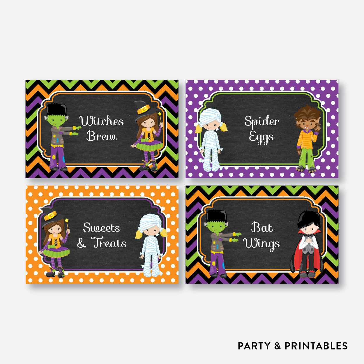 Halloween Kids Chalkboard Food Labels / Editable / Instant Download (CKB.139), party printables - Party and Printables