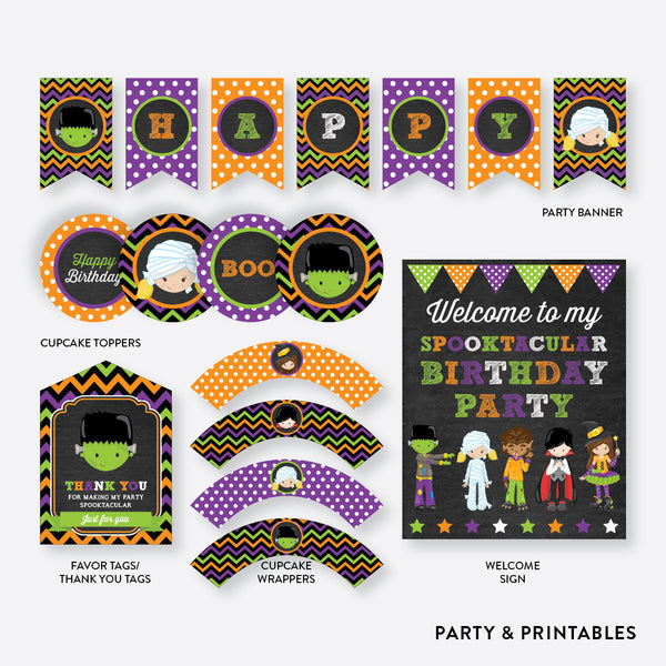 Halloween Kids Chalkboard Standard Kids Birthday Party Package / Non-Personalized / Instant Download (CKB.139), party package - Party and Printables