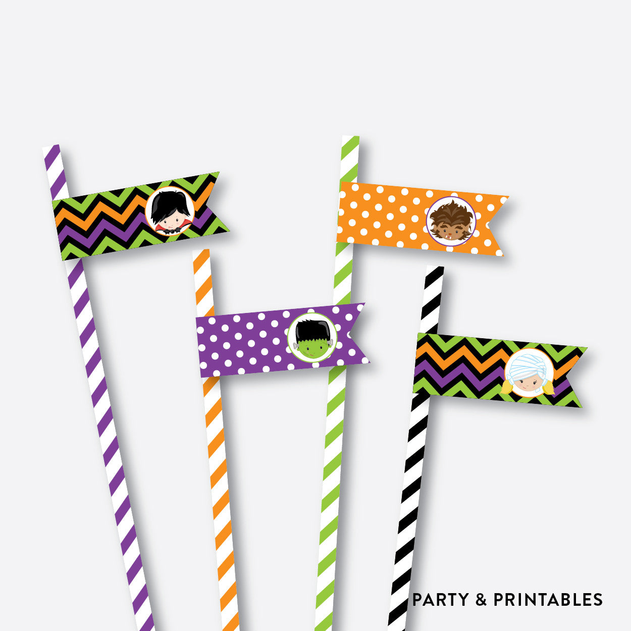 Halloween Kids Chalkboard Straw Flags / Non-Personalized / Instant Download (CKB.139), party printables - Party and Printables