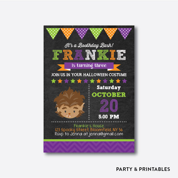 Wolverine Chalkboard Kids Birthday Invitation / Personalized (CKB.141), invitation - Party and Printables