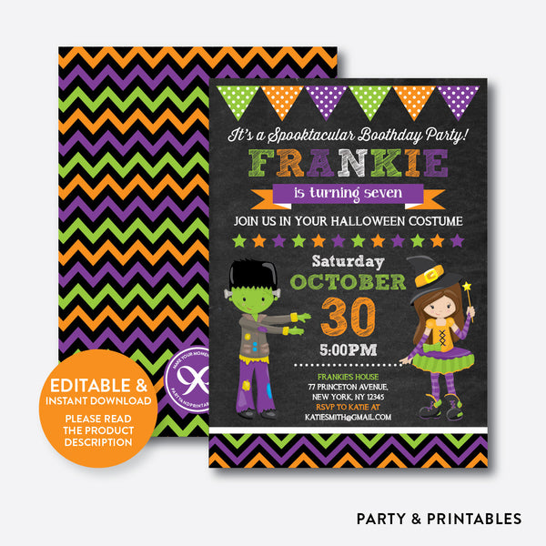 Halloween Kids Chalkboard Kids Birthday Invitation / Editable / Instant Download (CKB.144), invitation - Party and Printables