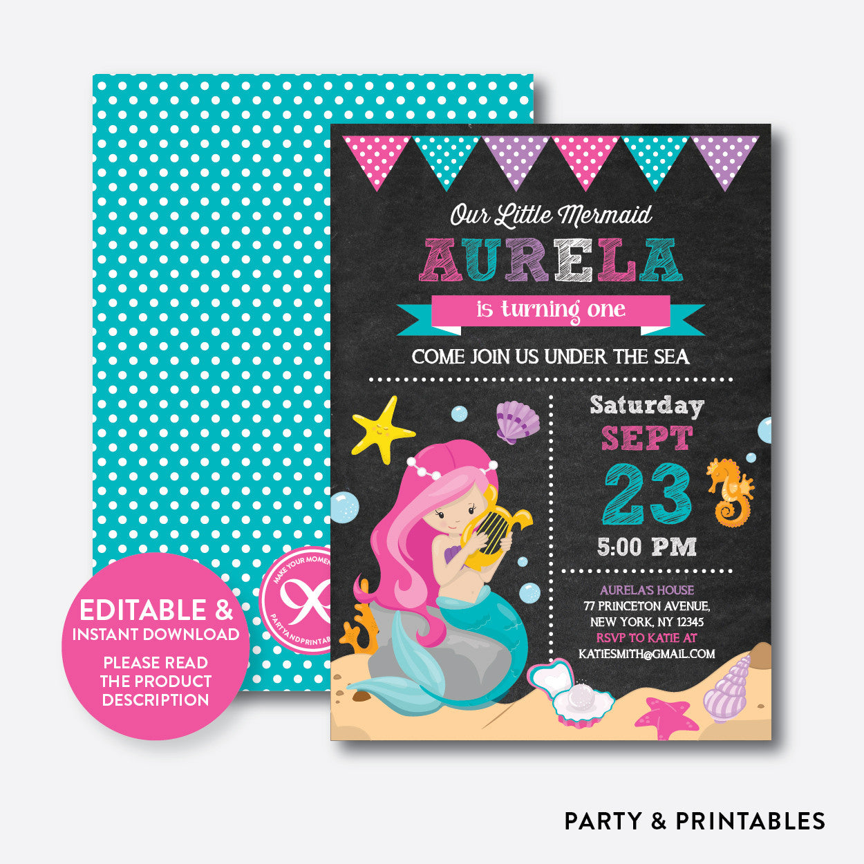 Mermaid chalkboard kids birthday invitation editable instant mermaid chalkboard kids birthday invitation editable instant download ckb147 stopboris