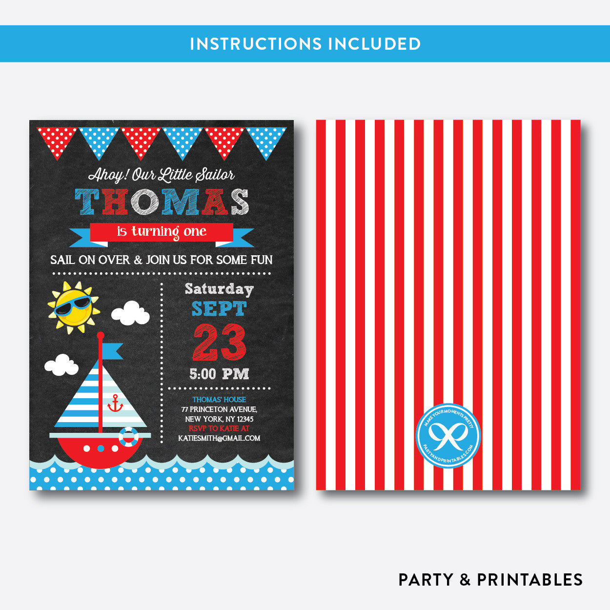Nautical Chalkboard Kids Birthday Invitation / Editable / Instant Download (CKB.14), invitation - Party and Printables