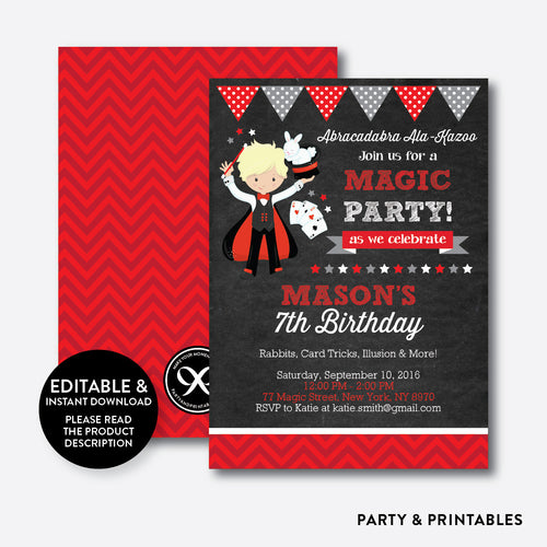 Magician Chalkboard Kids Birthday Invitation / Editable / Instant Download (CKB.151B)