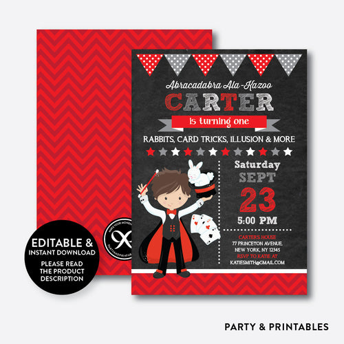 Magician Chalkboard Kids Birthday Invitation / Editable / Instant Download (CKB.151C)