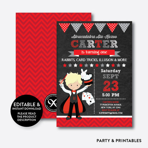 Magician Chalkboard Kids Birthday Invitation / Editable / Instant Download (CKB.151D)