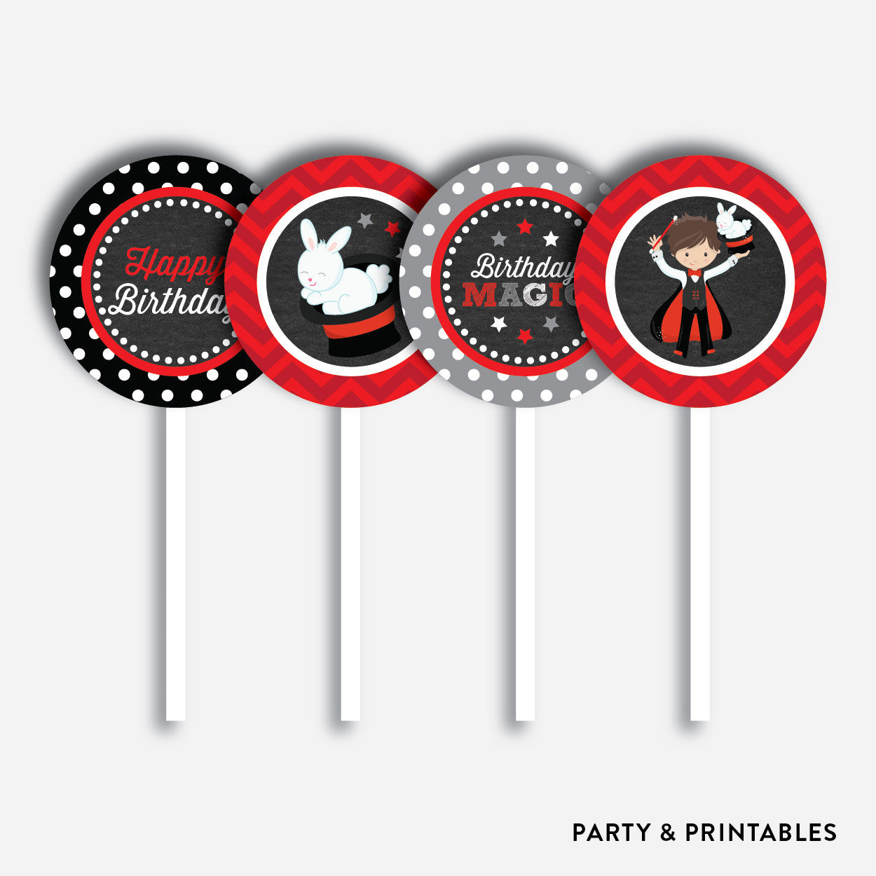 Magician Chalkboard Cupcake Toppers / Non-Personalized / Instant Download (CKB.151)