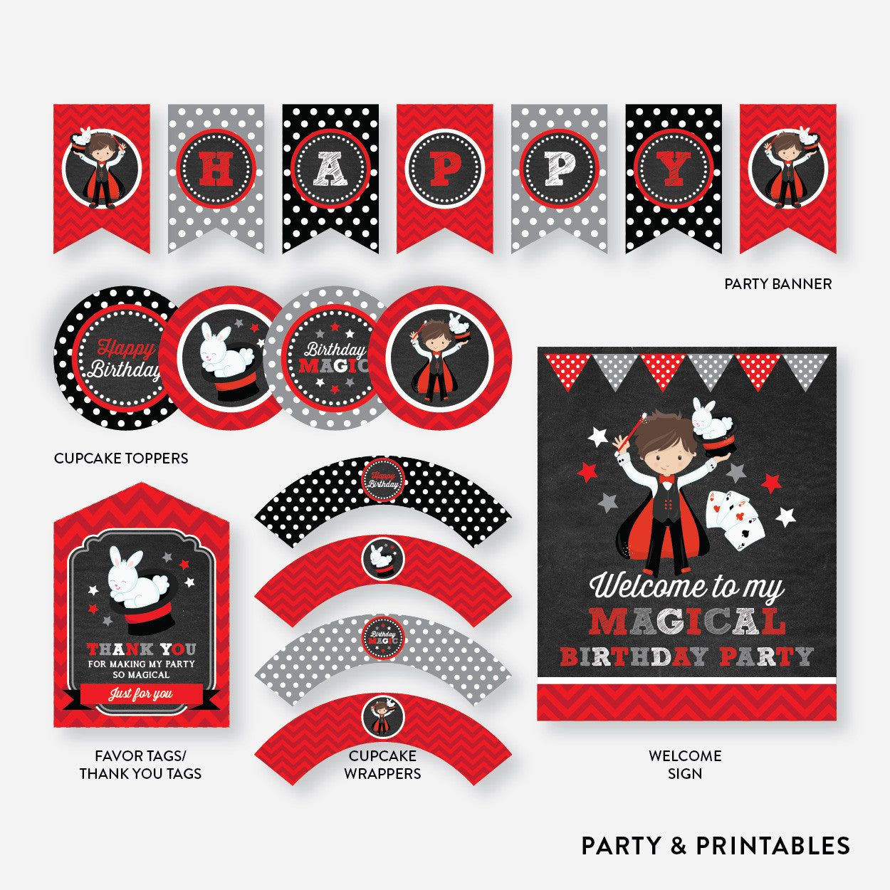 Magician Boy Chalkboard Standard Kids Birthday Party Package / Non-Personalized / Instant Download (CKB.151)