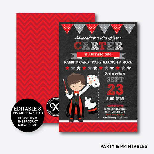 Magician Chalkboard Kids Birthday Invitation / Editable / Instant Download (CKB.152C)
