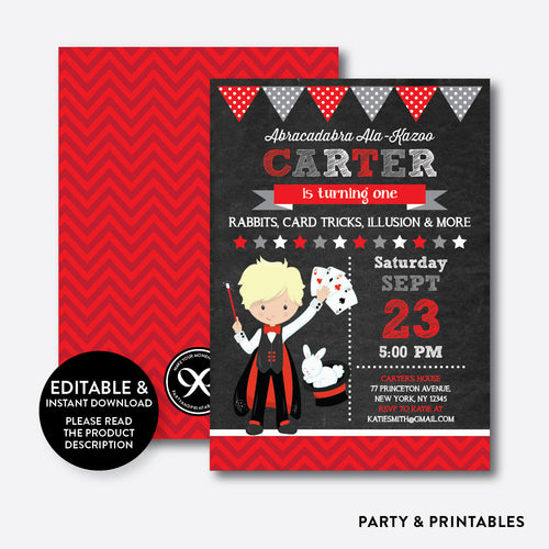 Magician Chalkboard Kids Birthday Invitation / Editable / Instant Download (CKB.152D)