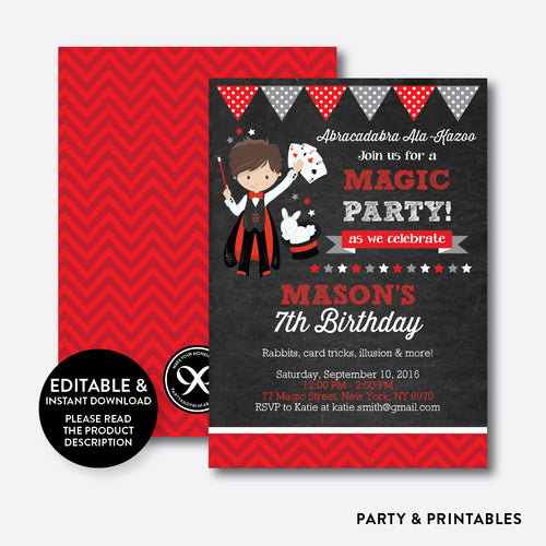 Magician Boy Chalkboard Kids Birthday Invitation / Editable / Instant Download (CKB.152)