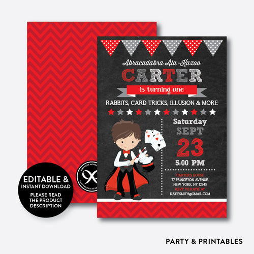 Magician Boy Chalkboard Kids Birthday Invitation / Editable / Instant Download (CKB.153C)