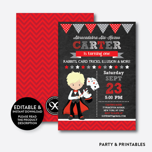 Magician Chalkboard Kids Birthday Invitation / Editable / Instant Download (CKB.153D)