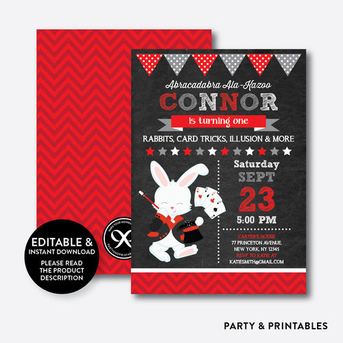 Magician Rabbit Chalkboard Kids Birthday Invitation / Editable / Instant Download (CKB.154B)