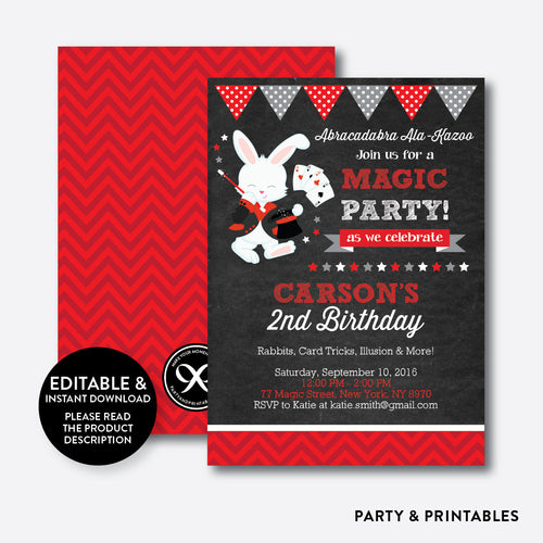 Magician Rabbit Chalkboard Kids Birthday Invitation / Editable / Instant Download (CKB.154)