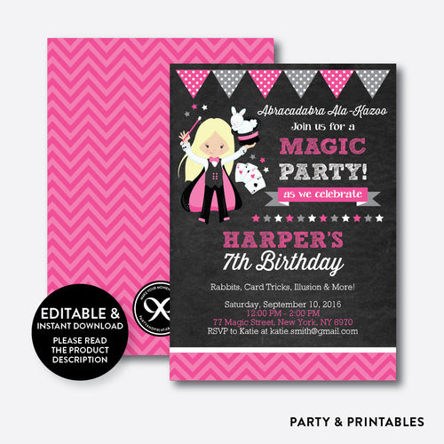 Magician Chalkboard Kids Birthday Invitation / Editable / Instant Download (CKB.155B)