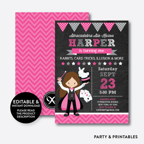 Magician Chalkboard Kids Birthday Invitation / Editable / Instant Download (CKB.155C)
