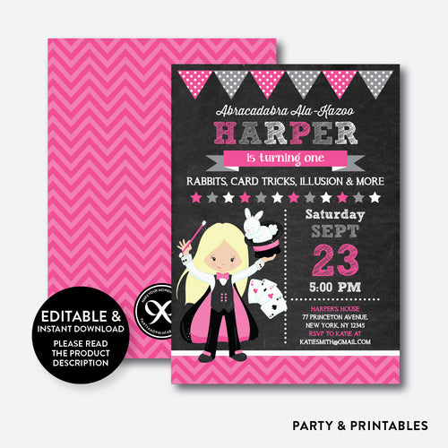 Magician Chalkboard Kids Birthday Invitation / Editable / Instant Download (CKB.155D)