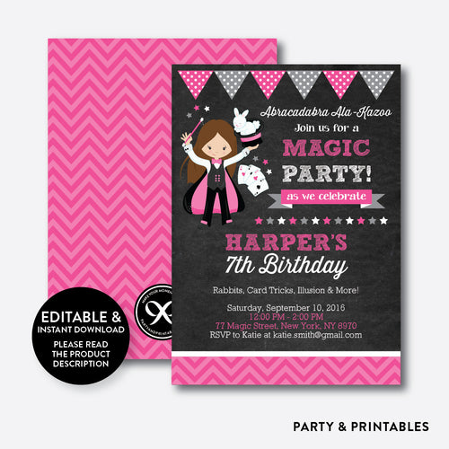 Magician Chalkboard Kids Birthday Invitation / Editable / Instant Download (CKB.155)