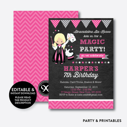 Magician Chalkboard Kids Birthday Invitation / Editable / Instant Download (CKB.156B)