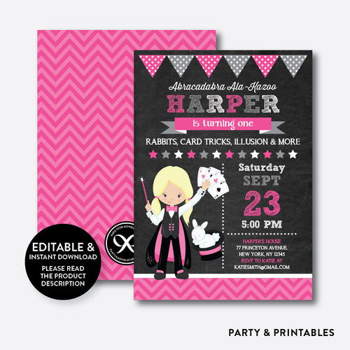 Magician Chalkboard Kids Birthday Invitation / Editable / Instant Download (CKB.156D)