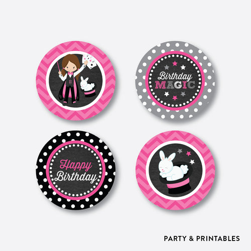 Magician Chalkboard Cupcake Toppers / Non-Personalized / Instant Download (CKB.156)