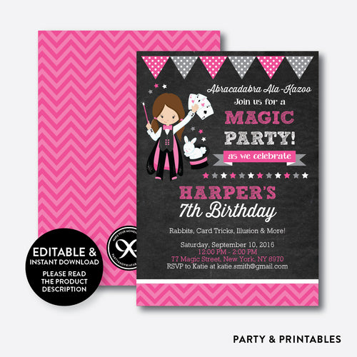 Magician Chalkboard Kids Birthday Invitation / Editable / Instant Download (CKB.156)