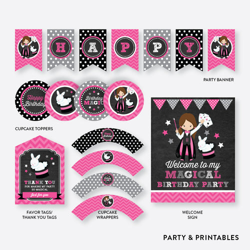Magician Girl Chalkboard Standard Kids Birthday Party Package / Non-Personalized / Instant Download (CKB.156)