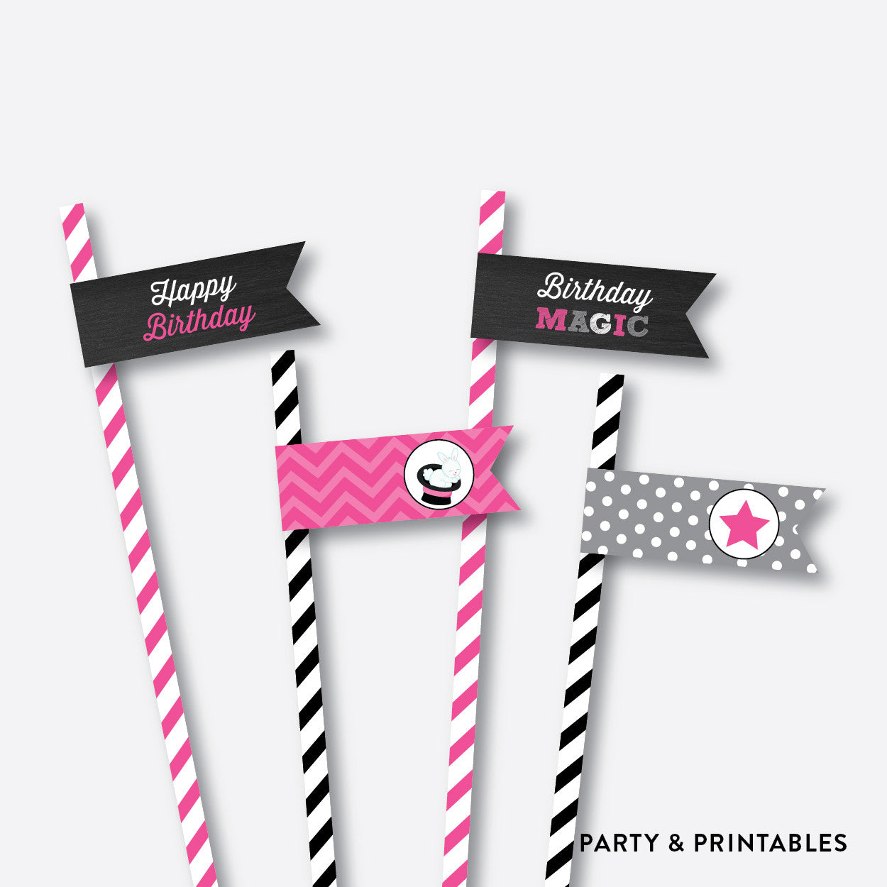 Magician Girl Chalkboard Straw Flags / Non-Personalized / Instant Download (CKB.156)