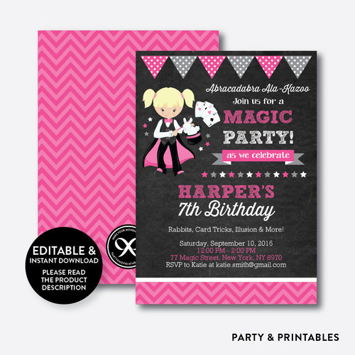 Magician Chalkboard Kids Birthday Invitation / Editable / Instant Download (CKB.157B)