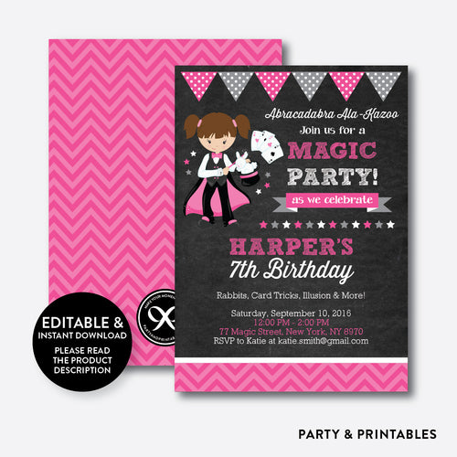 Magician Chalkboard Kids Birthday Invitation / Editable / Instant Download (CKB.157)