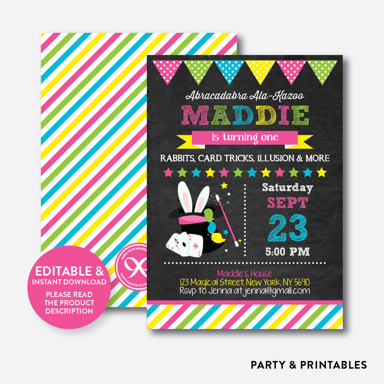 Magic Show Chalkboard Kids Birthday Invitation / Editable / Instant Download (CKB.160)