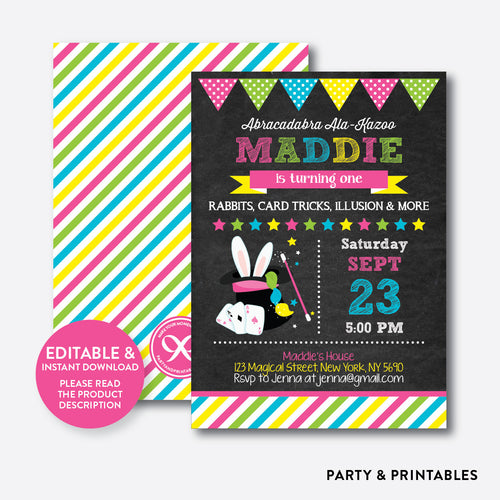 Magic Show Pink Chalkboard Kids Birthday Invitation / Editable / Instant Download (CKB.160)